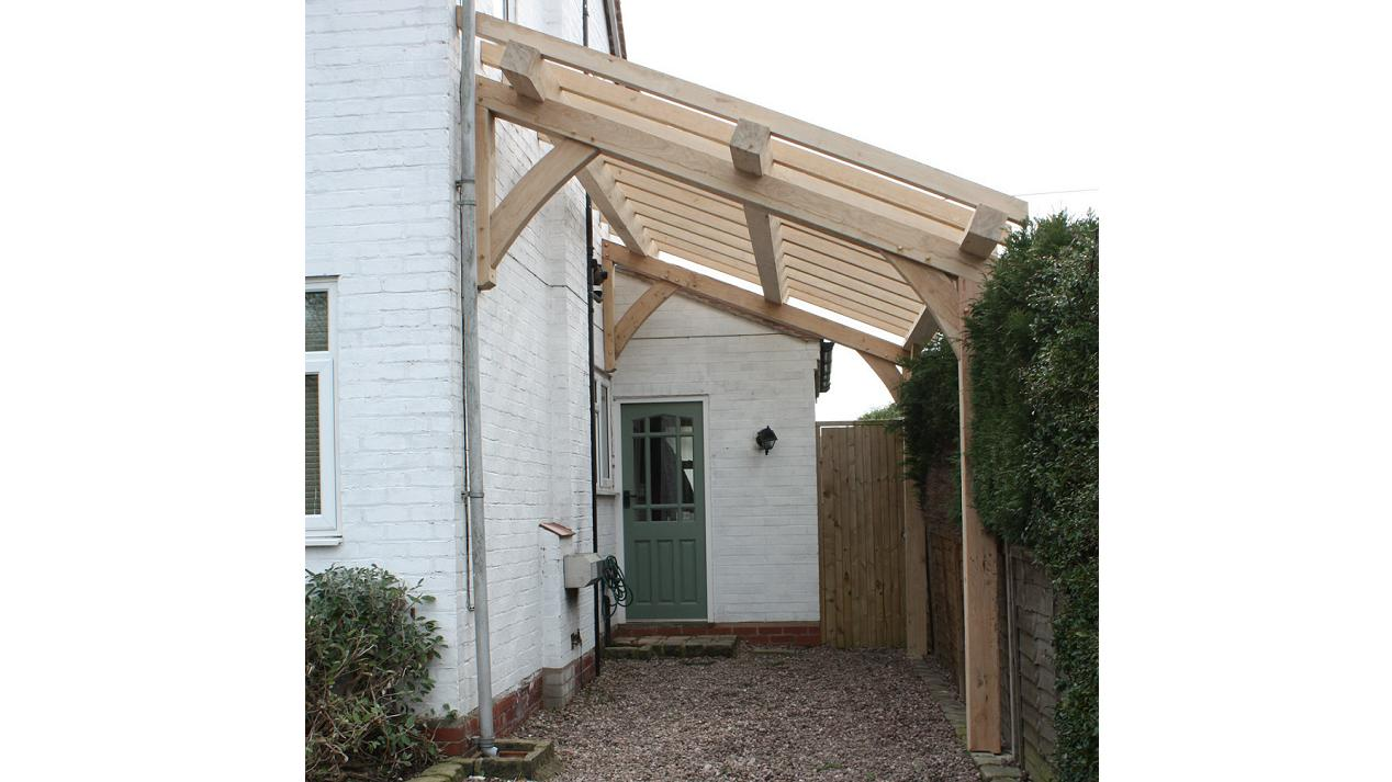 Oak timber framing oak frame lean to car port for Car lean to