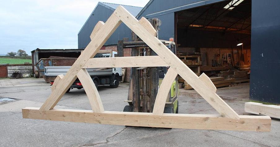 Oak timber framing quality bespoke green oak roof truss for Wooden roof trusses prices