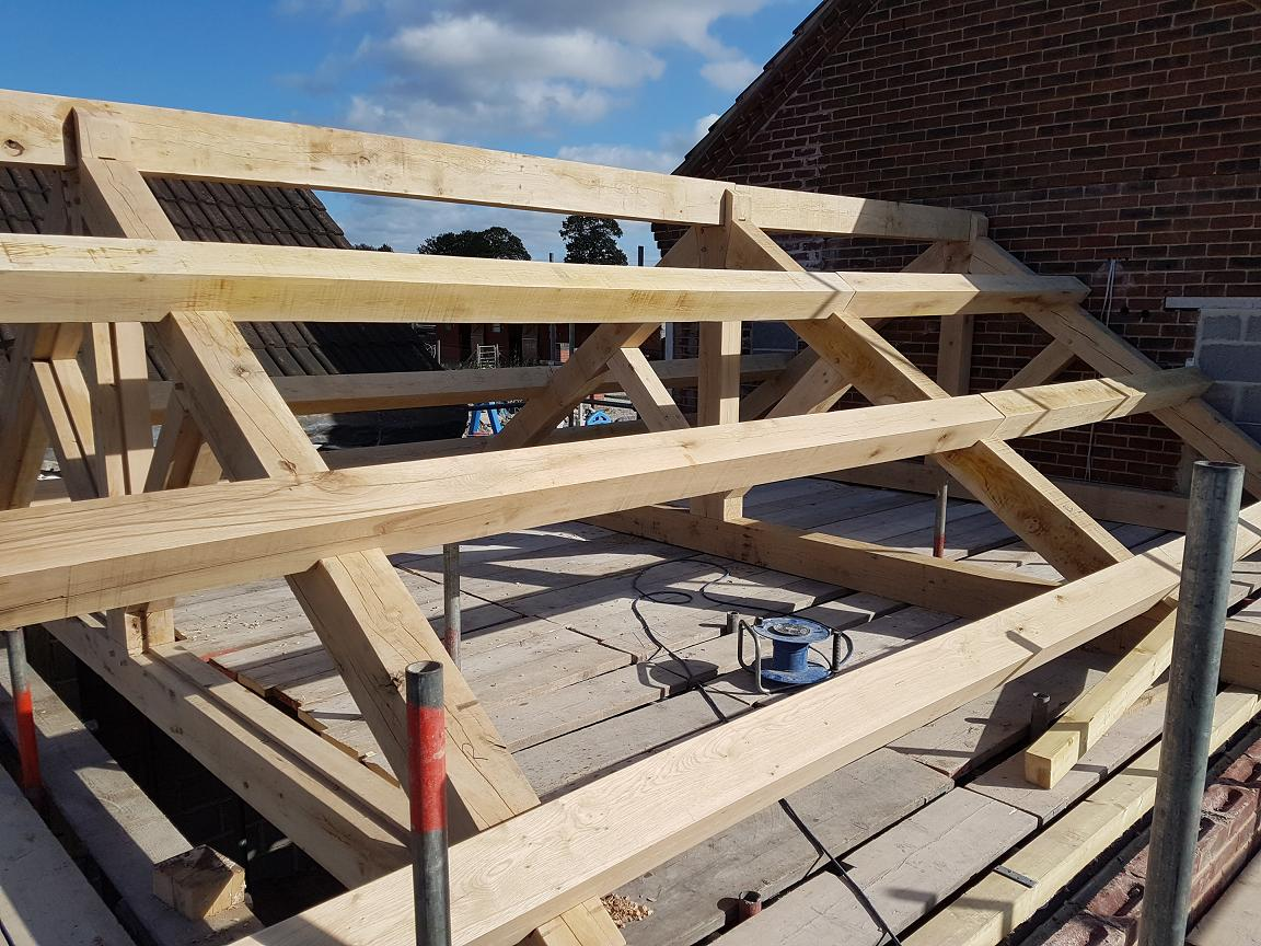 Tied King Truss made from Green Oak